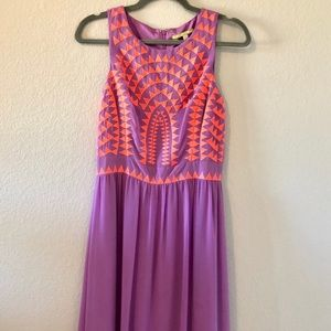 Gianni Bini Shawna Tribal Maxi Dress-Bright Lilac